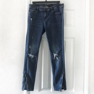 Zara Trafaluc Ankle Zipper Distressed Skinny Jeans